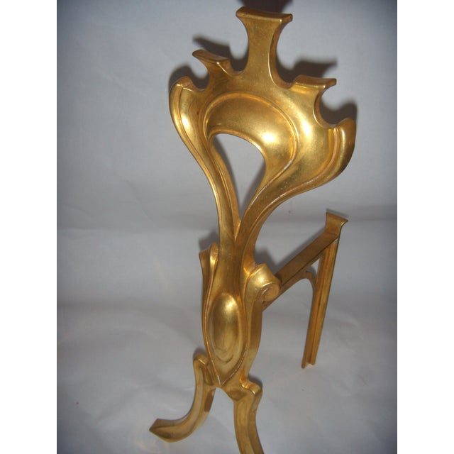 Bronze Art Nouveau Fireplace Andirons - A Pair - Image 4 of 6