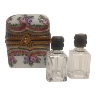 1960s French Limoges Hand Painted Parfume Flacon Box For Sale