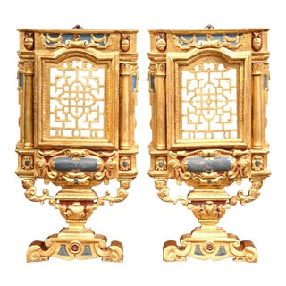 18th Century Italian Carved Polychrome and Gilt Wall Carvings - a Pair For Sale