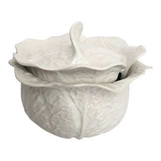 Vintage White Cabbageware Tureen For Sale