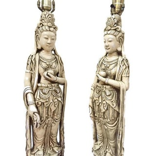 """Mid Century 40"""" Guan Yin Goddess Statue Lamps Chinoiserie Console Lamps - a Pair Preview"""