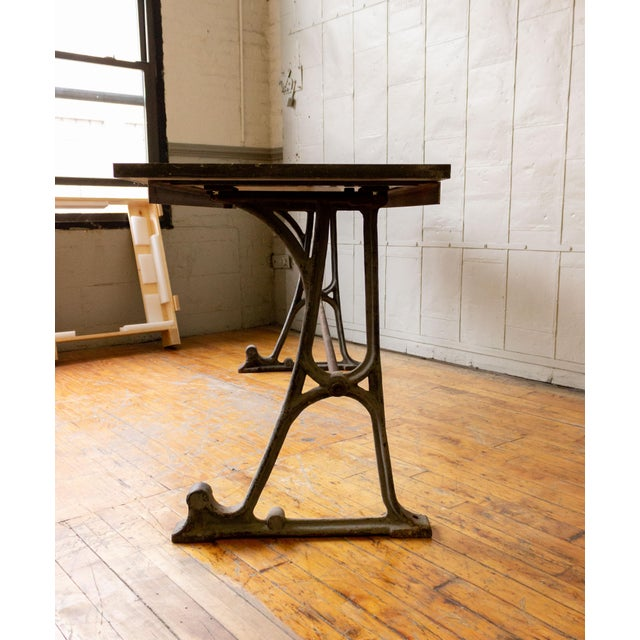 20th Century Industrial Iron Console With Marble Top For Sale - Image 4 of 11