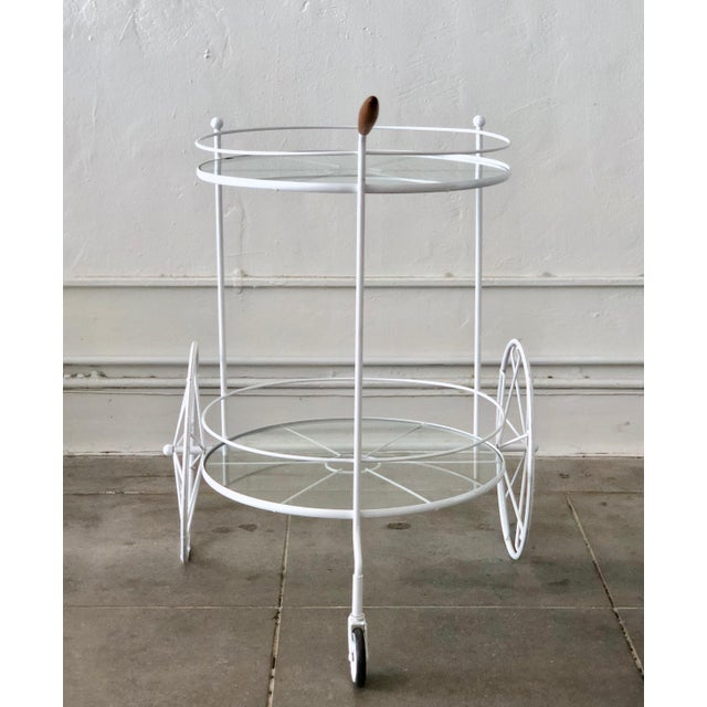 White Vintage Indoor Outdoor Patio Bar Cart with Wooden Handle For Sale - Image 11 of 13