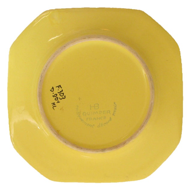 Vintage French Yellow Quimper Collection, Set of 3 For Sale In Tulsa - Image 6 of 8