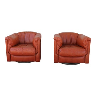 Milo Baughman Style Pair of Swivel Chairs