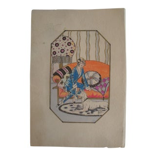 Art Deco 1920s 30s Pochoir Drawing Woman and Dog Interior Scene For Sale
