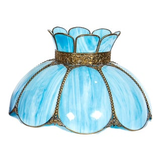 Large Vintage Tulip Shaped Turquoise/ Blue Slag Glass Lamp Shade For Sale