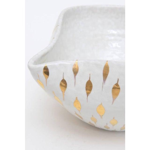 White Aldo Londi for Bitossi Gold Painted White Ceramic Bowl Vintage For Sale - Image 8 of 11