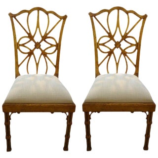 1970s Vintage Chinese Chippendale Style Gilt Wood Chairs- A Pair For Sale