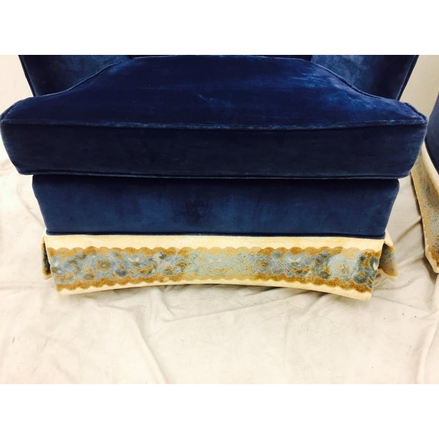 Navy Blue Velvet Club Chairs - a Pair - Image 7 of 8