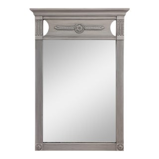 Mid Century Federal Style Gray Painted Ornate Mahogany Vertical Wall Mirror For Sale