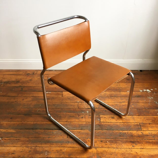 Nicos Zographos Vintage Oiled Leather & Chrome Cantilever Chairs by Nicos Zographos - Set of 4 For Sale - Image 4 of 9