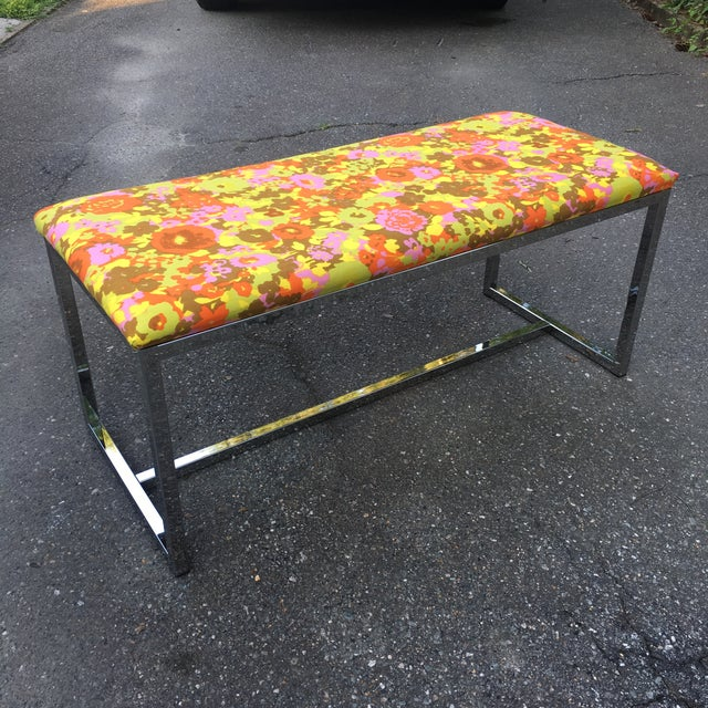 Chrome Mid-Century Upholstered Chrome Bench For Sale - Image 7 of 7