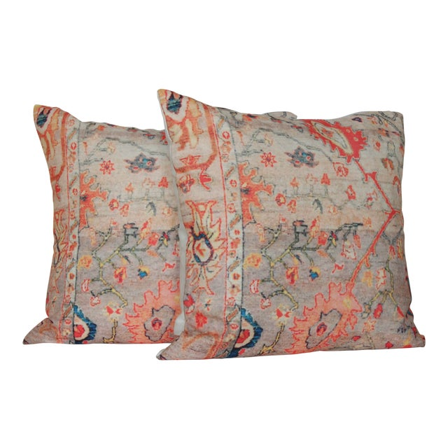 """Vintage Multi-Colored Oriental Rug Print 18"""" Pillow Covers – A Pair - Image 1 of 7"""