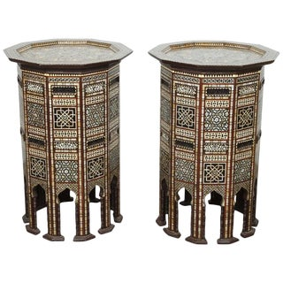 20th Century Syrian Side Tables Inlaid With Mother-Of-Pearl - a Pair For Sale