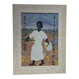 "Mid 20th Century ""Bag Foud"" Folk Art Style Figurative Painting by Self-Taught Artist ""Black Joe Jackson"", Framed For Sale"