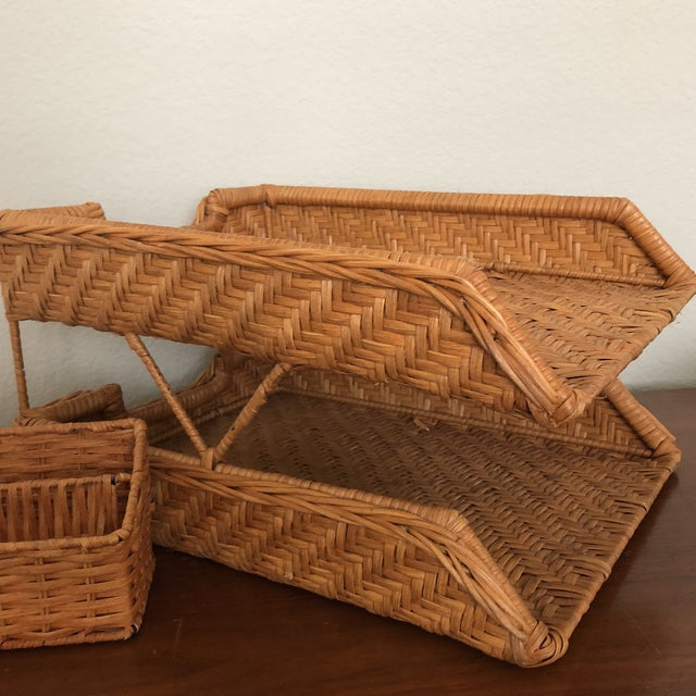 Americana Boho Chic Wicker Desk Set - 2 Pieces For Sale - Image 3 of 7