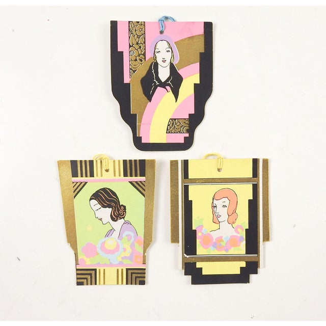 1920s Art Deco Portrait Tally Cards - Set of 3 For Sale - Image 5 of 5