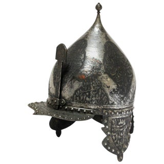 Islamic Indo Persian Kulah Khud Helmet With Arabic Inscription For Sale