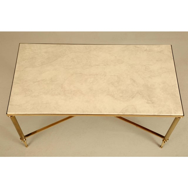French Mid-Century Modern Coffee or Cocktail Table in Polished Solid Brass For Sale - Image 4 of 9
