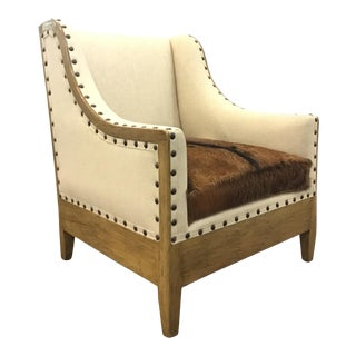 Organic Modern Tulsa Cowhide Club Chair For Sale