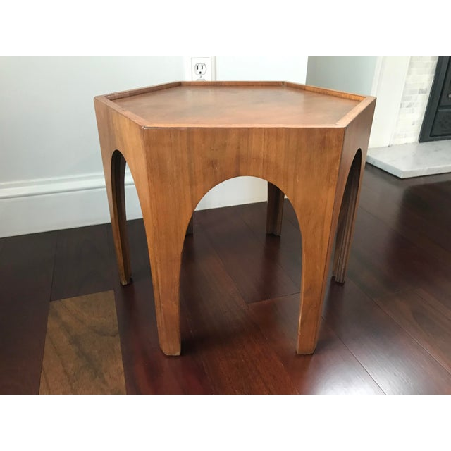 Brown Vintage Mid Century Modern Danish Teak Hexagonal Side Table For Sale - Image 8 of 8