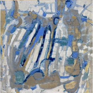 """Notes of Blue"" Contemporary Abstract Oil Painting by Ann Keane For Sale"