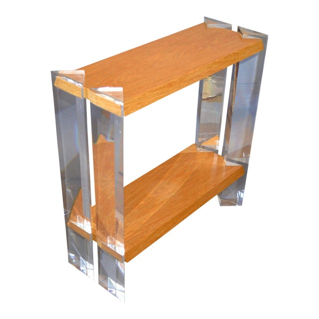 Italian Mid-Century Modern Oak & Acrylic Two Tier Console Table Bookshelf, 1960s For Sale