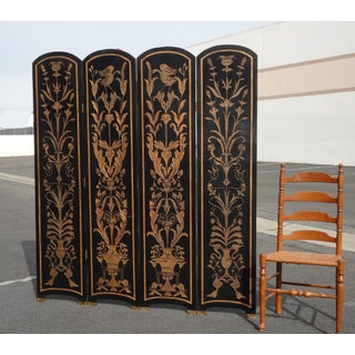 Vintage Oriental Asian Chinoiserie Four Panel Black Lacquer Screen/Room Divider Preview