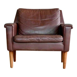 Danish Modern Easy Chair by Georg Thams in Chestnut Leather 1960's For Sale