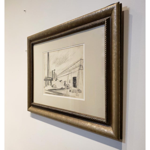 1940s Mid Century Industrial Factory Charcoal Drawing by Tonia Cariffa For Sale - Image 5 of 7