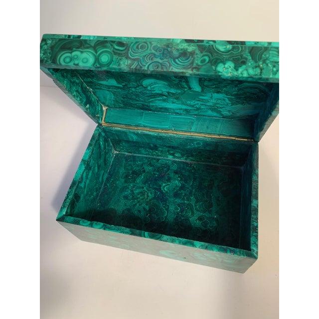 Mid 20th Century Malachite Box With Semi Precious Stones Set in Sterling For Sale - Image 5 of 12