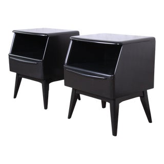Heywood Wakefield Mid-Century Modern Ebonized Nightstands - a Pair For Sale