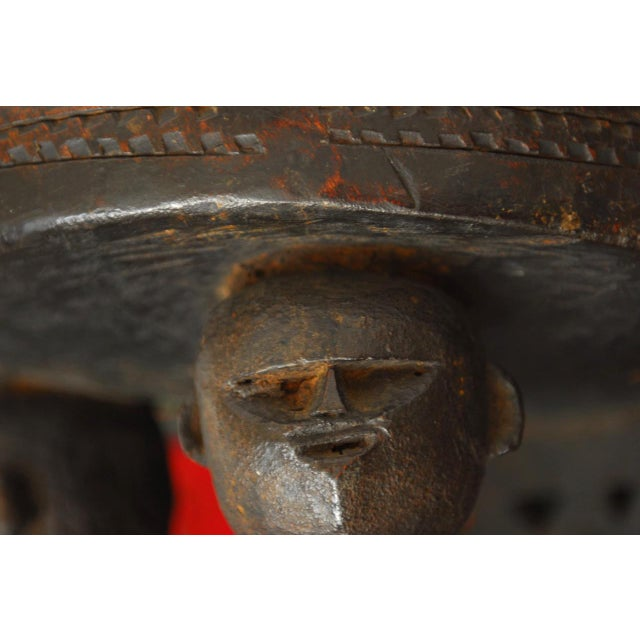 African Carved Tribal Stool with Figural Legs For Sale - Image 5 of 12