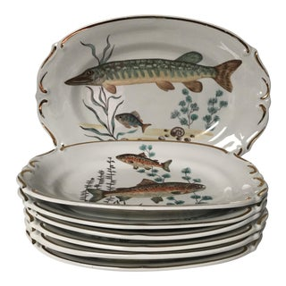 Vintage Chodziez Poland Dinner Fish Plates and Fish Platter For Sale