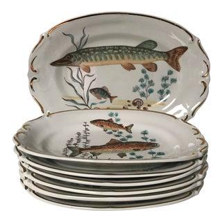Vintage Chodziez Poland Fish Dinner Plates and Platter For Sale