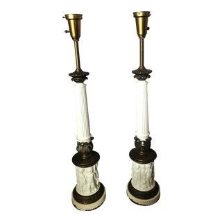 Pair of Mid-Century Stiffel Cherub Regency Torchiere Lamps For Sale