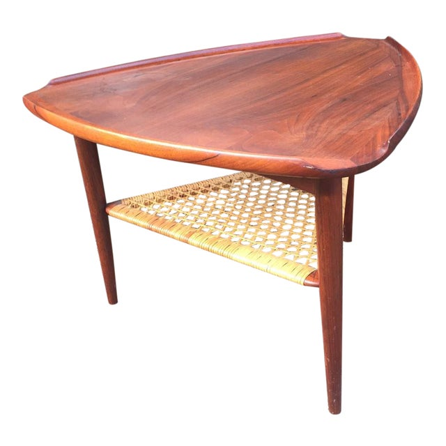 Danish Modern Teak & Cane Side Table - Image 1 of 9