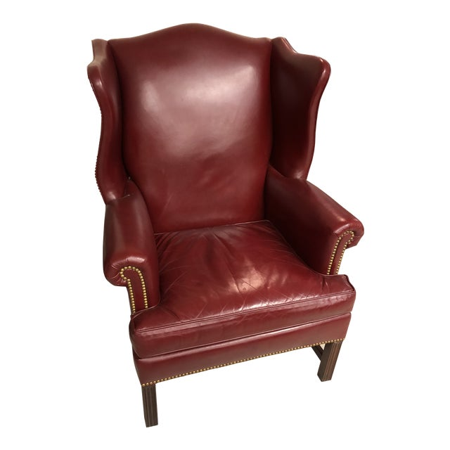 Late 20th Century Oxblood Leather Wingback Chair For Sale