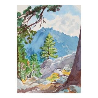 """Toward Thunder Mountain"" Alpine Landscape in Watercolor, 1997"