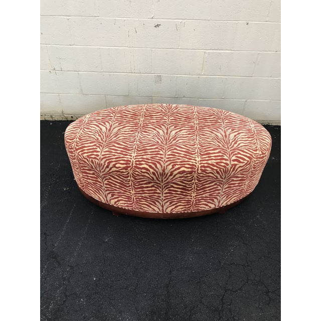Gold Mid Century Modern Red Zebra Print Ottoman For Sale - Image 8 of 8