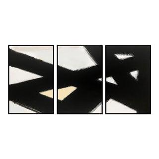 """Black Slash No 2 Triptych Painting 24x36"""" For Sale"""
