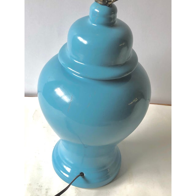 Vintage Ginger Jar Lamp With Linen Shade For Sale In Atlanta - Image 6 of 13