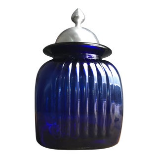 1990s Traditional Blue Artland Jar With Pewter Lid For Sale