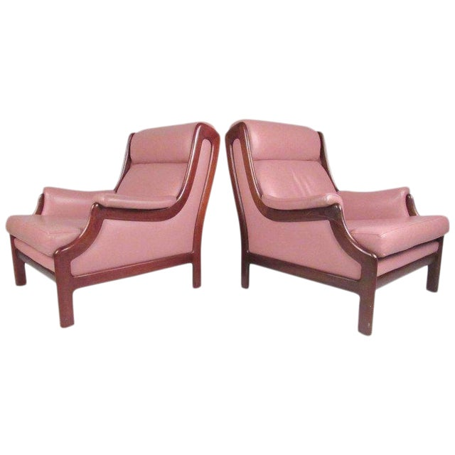 Scandinavian Modern Teak & Leather Lounge Chairs - A Pair For Sale