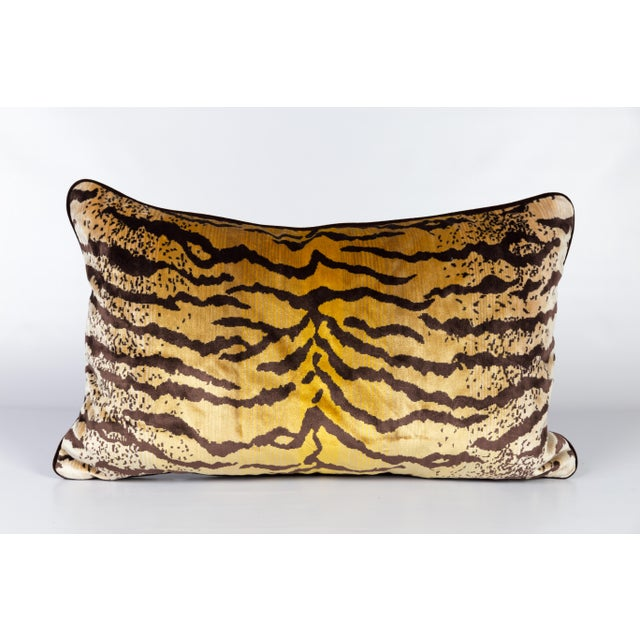 2010s Velvet and Silk Tiger Lumbar Pillow For Sale - Image 5 of 6