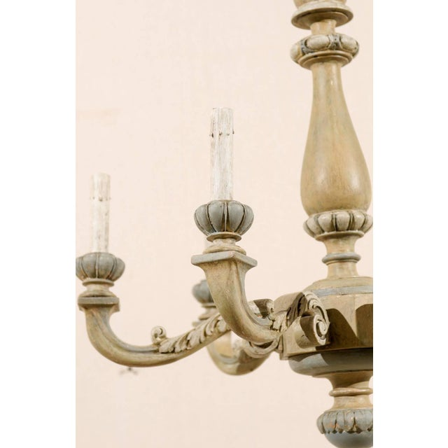 French Carved and Painted Wood Six-Light Vintage Chandelier, Neutral Color For Sale - Image 4 of 7