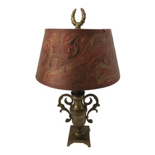 1970s Small Vintage Brass Lamp With Italian Paper Shade For Sale