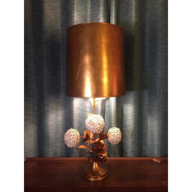 Copper Italian Hydrangea Tole Table Lamp For Sale - Image 8 of 11