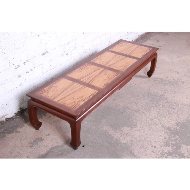 Michael Taylor for Baker Chinoiserie Rosewood and Walnut Coffee Table, Newly Restored For Sale In South Bend - Image 6 of 12
